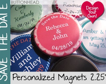 75 Save the Date Magnets Wedding - Custom 2.25 Inch Round