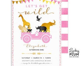 Pink Girl Safari Birthday Invitation / Wild Birthday Invitation / Jungle Birthday Invitation / Boho Chic Birthday / First Birthday
