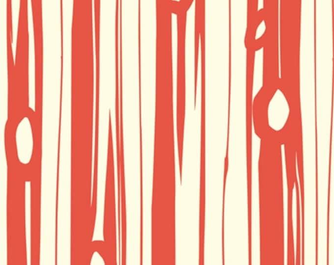 Organic KNIT Fabric - Birch Bear Camp - Bear Bois Coral