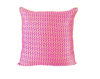 Pink and Gold Pillow Cover/ Pink throw pillow/ Indian Cushion Cover/ Royal Pillows/ Decorative Pillows/ Textured pillows/ Pink Pillowcase