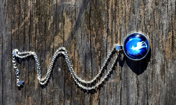 Last Unicorn Necklace, The White Unicorn in Moonlight Picture Cabochon, Blue Unicorn Moon  Necklace, Long or Choker Length, Silver or Bronze