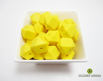 Hexagon - Yellow Loose Silicone Beads for Teething Necklace