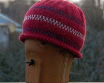 100 % Wool Pippi Longstocking Style Beanie Hat with Rolled Edge