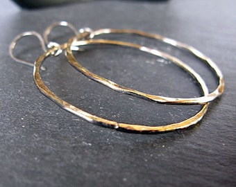 Black Hoop Earrings Hammered Silver Earrings Oxidized Black Hoops Gold Edges Black Gold Earrings Artisan Metalsmith Boho Earrings Large Hoop