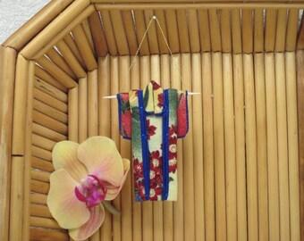 "Tiny Kimono Ornament. ""Summer Garden."" Fabric Origami Kimono: Japanese Holiday Handmade. Red Yellow Blue. Hang it, Frame it, Give it."