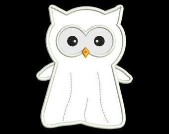 Applique Halloween Owl Ghost Machine Embroidery Designs 4X4 and 5X7 Included - Instant Download Sale
