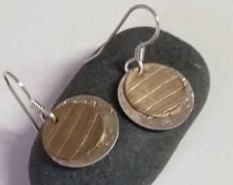 Brass and silver etched line earrings