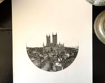 Cathedral Sketch, Lincoln, England, Black and White, Limited Edition Print