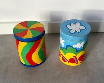 1970's Per Arnoldi storage tins / containers. Vintage Danish design.