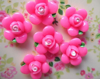 10pcs flower pink Lotus  cabochon 18mm