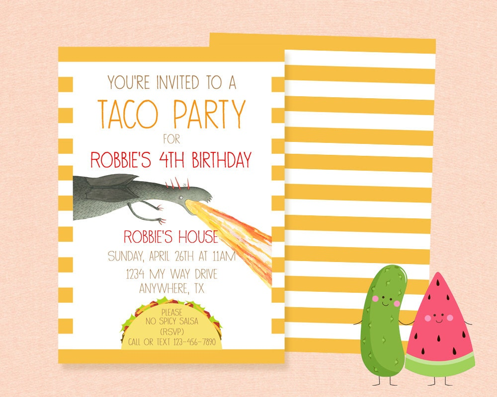 Inspired Dragons Love Tacos Invitation Birthday Party