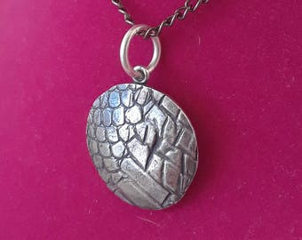 Ethical No Harm Real Snake Skin Silver Jewelry Pendant