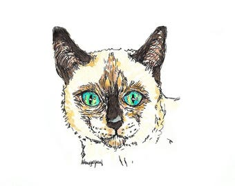 Siamese Cat.  Matted Print from the Original Watercolor Painting