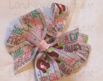 """2.5"""" A little rustic country cowgirl boutique Pinwheel hair bow (SET OF 2)"""