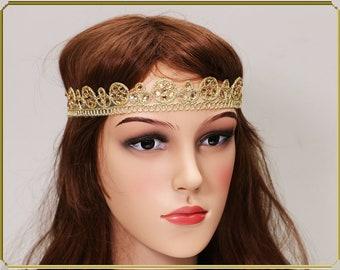 Gold Headband, Gift for her,Lace Headband,Wedding Headband, Beaded Hiedpiece,Gatsby Headpiece, Boho Heanband, Bridal Headpiece,Cristmas gift