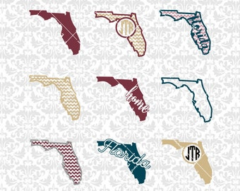Florida State Shape Outline Art Monogram Chevron SVG STUDIO Ai EPS Scalable Vector Instant Download Commercial Use Cutting File Silhouette
