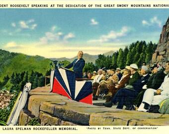 President Franklin Roosevelt Dedication of Great Smoky Mountains National Park Vintage Postcard (unused)