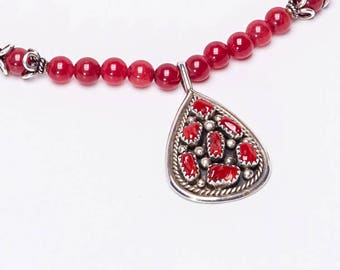 Navajo Coral Necklace - Signed Pendant Strung with Cherry Quartz Beads - Best Buy - FREE US Shipping
