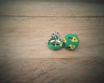 Green Earrings. Yellow Flowers. Vintage Fabric. Handmade Earrings. Fabric Covered Button Earrings. Stud Earrings. Clip On Earrings.
