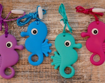 Silicone Seahorse Teething Necklace, Silicone Seahorse Pendant, 100% Food Grade Silicone Teether, BPA Free Silicone Teether