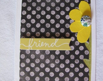Sunflower Friendship Card with Polka Dots, Just Because Card, Floral Friendship Card