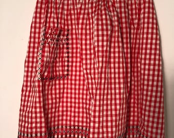 Vintage 1950s Cotton Kitchen Apron Red White Black Picnic Gingham