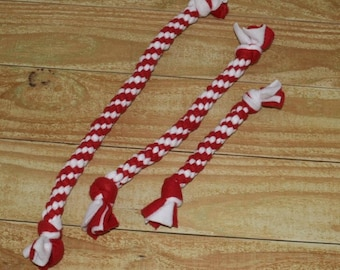 Red and White Valentines Fleece Rope Dog Tug Toy