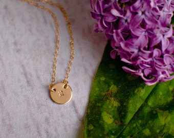 Hebrew Initial Necklace - Dainty little Gold Filled Hand Stamped Hebrew Letter - Bat Mitzvah Gift - Hannukah Gift
