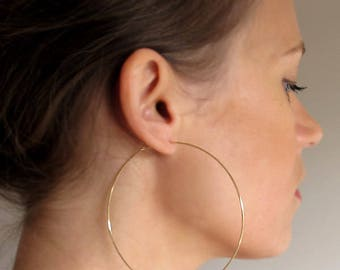 Large Gold Hoop Earrings. 3 inch Gold Hoops. Big Hoops. large hoops. Fashion Hoops Thin Gold Hoops. XXL Elegant Classic Design Gold Filled.
