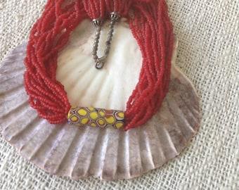 Necklace, mehrstraengig with Millefiori bead