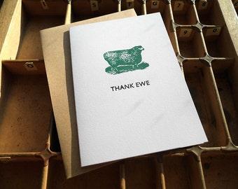 Letterpress greetings card - Thank ewe sheep (thank you)