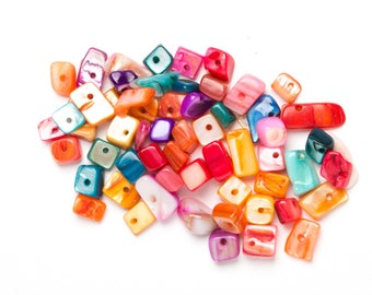 Shell Chips, Rainbow Shell Chip Beads, Beads, Multi-coliured beads