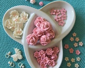 Royal Icing & Gumpaste Pretties Set Baby Showers Weddings Brides Cakes Cupcake Toppers