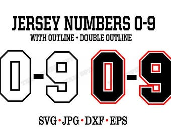 Jersey Numbers SVG Download File - Sports  DXF, EPS, Silhouette Studio, Vinyl Cut Files, Digital Cut Files -Use with Cricut and Silhouette