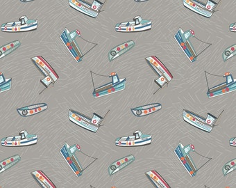 Fishing boats on grey from the Harbourside range by Lewis &  Irene