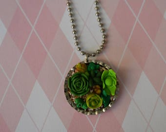 Succulent bottle cap charm