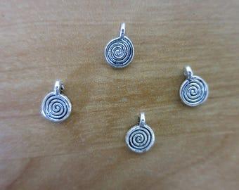 Silver spiral charm