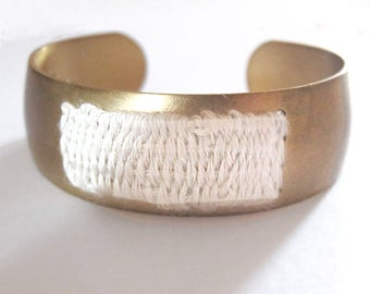 Brass Cuff Bracelet - woven tapestry - fabric bracelet - woven bracelet // WHITE COTTON CUFF