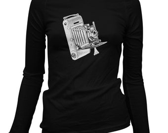 Women's Vintage Camera Long Sleeve Tee - S M L XL 2x - Ladies' Shirt, Camera Gift, Photographer Shirt, Photography Shirt, Hipster Camera