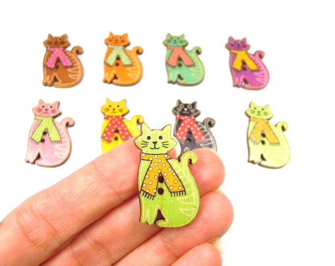 10 Cat buttons - Cat wooden buttons - Cool cat buttons - Streetcat buttons - Cat craft buttons -  Cat embellishments for cat lovers