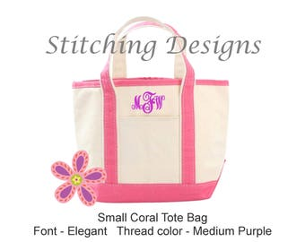 Flower girl tote, Monogram tote bag, Kids tote bag, Canvas tote bag, Boat Tote Bag, Beach Bag - 15 Colors