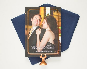 Save the Dates with Copper Foil, Announcements for Classic Weddings, Foil Border Save the Date Cards, Foil Stamping Photo Card | Refined