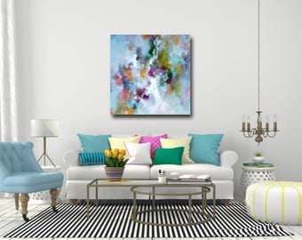 Large Abstract Canvas Print, Wall Art, Giclee Print from Painting, Expressive Art, Turquoise Blue, Pink, Yellow, White, Green Art