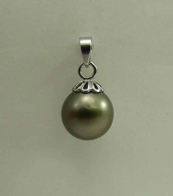 Tahitian Black Pearl 10.7 mm Pendant 14k White Gold