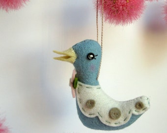 Tiny Bird Plush Ornament in Light Blue