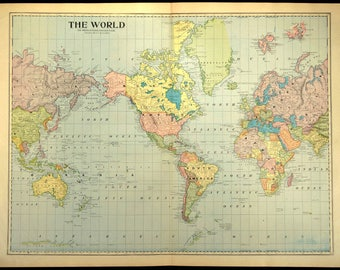 Vintage large world map etsy world map antique large map of the world mercators projection gumiabroncs Image collections