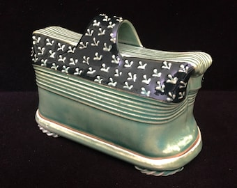 Charan Sachar Hand Made Ceramic Green Butter Dish India Pottery