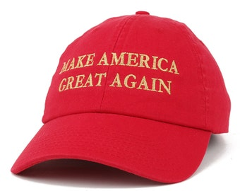 Made in USA Donald Trump Soft Cotton Cap - Make America Great Again METALLIC GOLD Embroidered