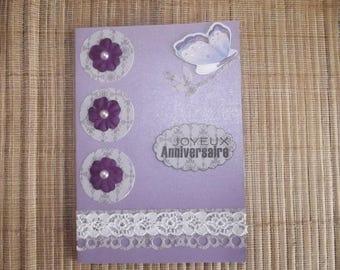 "Card purple ""Happy birthday"", handmade."
