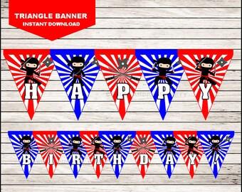 Ninja Triangle Banner instant download, Ninja Banner, Ninja Party Banner